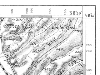 Reduced fragment of topographic map de--aut--075k--13-23--(1910)--N048-15_fE038-00--N048-00_fE038-30; towns and cities Miskolc, Kazincbarcika
