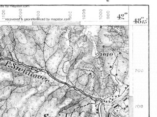 Reduced fragment of topographic map de--aut--075k--13-30--(1912)--N048-15_fE041-30--N048-00_fE042-00; towns and cities Rakhov, Dubovoye, Ganichi, Verkhneye Vodyanoye, Glubokiy Potok