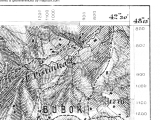 Reduced fragment of topographic map de--aut--075k--13-31--(1914)--N048-15_fE042-00--N048-00_fE042-30; towns and cities Verkhovina, Bogdan, Krivopol'ye, Zamagorov