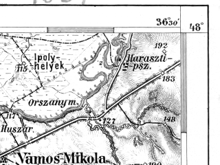 Reduced fragment of topographic map de--aut--075k--14-19--(1885)--N048-00_fE036-00--N047-45_fE036-30; towns and cities Esztergom, Kolonia