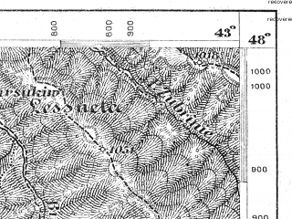 Reduced fragment of topographic map de--aut--075k--14-32--(1877)--N048-00_fE042-30--N047-45_fE043-00; towns and cities Grinyava, Putila, Selyatin