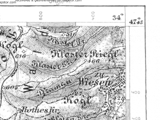 Reduced fragment of topographic map de--aut--075k--15-14--(1909)--N047-45_fE033-30--N047-30_fE034-00; towns and cities Aspang Markt