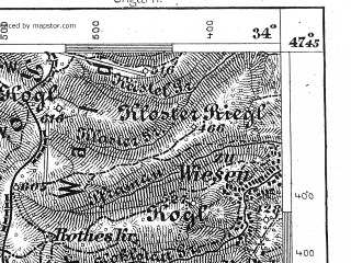 Reduced fragment of topographic map de--aut--075k--15-14--(1915)--N047-45_fE033-30--N047-30_fE034-00; towns and cities Aspang Markt