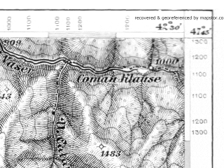 Reduced fragment of topographic map de--aut--075k--15-31--(1877)--N047-45_fE042-00--N047-30_fE042-30; towns and cities Viseu De Sus