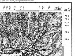 Reduced fragment of topographic map de--aut--075k--17-31--(1876)--N047-15_fE042-00--N047-00_fE042-30; towns and cities Bistrita, Tiho Birgaului