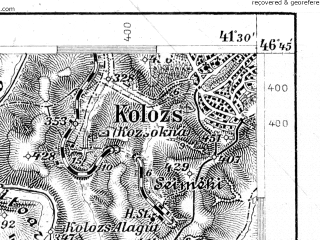 Reduced fragment of topographic map de--aut--075k--19-29--(1914)--N046-45_fE041-00--N046-30_fE041-30; towns and cities Turda