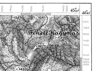 Reduced fragment of topographic map de--aut--075k--19-33--(1876)--N046-45_fE043-00--N046-30_fE043-30; towns and cities Gheorgheni, Joseni