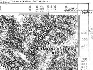 Reduced fragment of topographic map de--aut--075k--24-29--(1879)--N045-30_fE041-00--N045-15_fE041-30; towns and cities Petroseni, Petrila