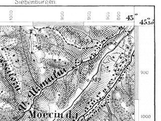 Reduced fragment of topographic map de--aut--075k--24-32--(1875)--N045-30_fE042-30--N045-15_fE043-00; towns and cities Cimpulung