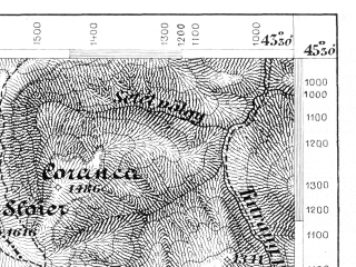 Reduced fragment of topographic map de--aut--075k--24-33--(1875)--N045-30_fE043-00--N045-15_fE043-30; towns and cities Busteni, Sinaia