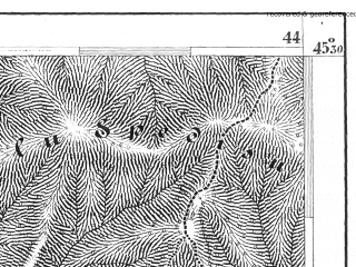 Reduced fragment of topographic map de--aut--075k--24-34--(1875)--N045-30_fE043-30--N045-15_fE044-00; towns and cities Maneciu