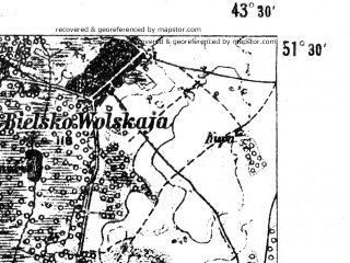 Reduced fragment of topographic map de--aut--075k--a-33--(1907)--N051-30_fE043-00--N051-15_fE043-30; towns and cities Galuziya, Gorodok, Lishnevka