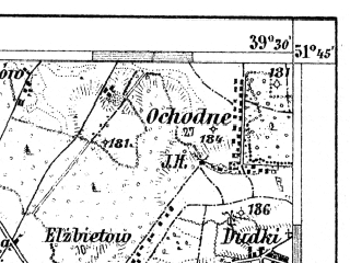 Reduced fragment of topographic map de--aut--075k--b-25--(1911)--N051-45_fE039-00--N051-30_fE039-30; towns and cities Kozienice, Maciejowice
