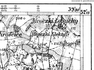 Reduced fragment of topographic map de--aut--075k--d-25--(1911)--N052-15_fE039-00--N052-00_fE039-30; towns and cities Minsk Mazowiecki