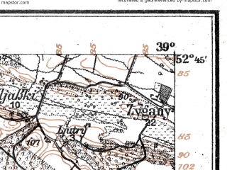 Reduced fragment of topographic map de--aut--075k--f-24--(1916)--N052-45_fE038-30--N052-30_fE039-00; towns and cities Pultusk, Serock