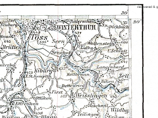 Reduced fragment of topographic map de--aut--200k--26-47--(1910)--N047-30_fE025-30--N046-30_fE026-30 in area of Vierwaldstatter See, Reuss, Kleine Emme; towns and cities Zurich, Luzern, Winterthur, Zug, Olten