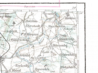 Reduced fragment of topographic map de--aut--200k--26-50--(1907)--N050-30_fE025-30--N049-30_fE026-30; towns and cities Frankfurt Am Main, Wiesbaden, Darmstadt, Mainz, Bad Homburg