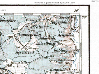 Reduced fragment of topographic map de--aut--200k--28-48--(1935)--N048-30_fE027-30--N047-30_fE028-30 in area of Forggensee, Bannwaldsee; towns and cities Ulm, Kempten, Memmingen, Kaufbeuren, Sonthofen