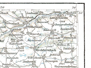 Reduced fragment of topographic map de--aut--200k--28-49--(1910)--N049-30_fE027-30--N048-30_fE028-30; towns and cities Aalen, Heidenheim, Ansbach, Crailsheim, Rothenburg Ob Der Tauber