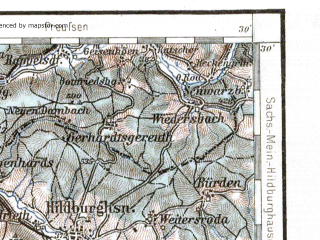 Reduced fragment of topographic map de--aut--200k--28-50--(1930)--N050-30_fE027-30--N049-30_fE028-30; towns and cities Wurzburg, Schweinfurt, Bad Kissingen, Hofheim, Neustadt