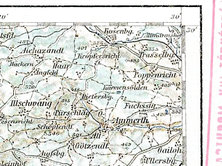 Reduced fragment of topographic map de--aut--200k--29-49--(1912)--N049-30_fE028-30--N048-30_fE029-30; towns and cities Nurnberg, Furth, Ingolstadt, Schwabach, Sulzbach-rosenberg