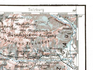 Reduced fragment of topographic map de--aut--200k--30-47--(1946)--N047-30_fE029-30--N046-30_fE030-30 in area of Zeller See; towns and cities Lienz, Brunico, Cortina D'ampezzo, Kitzbuhel, Matrei