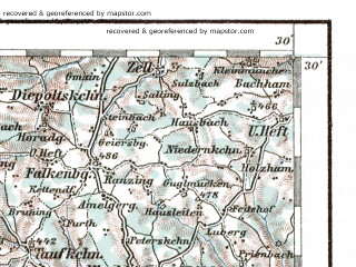Reduced fragment of topographic map de--aut--200k--30-48--(1937)--N048-30_fE029-30--N047-30_fE030-30 in area of Chiemsee, Alz, Waginger See; towns and cities Rosenheim, Burghausen, Kufstein, Worgl, Muhldorf