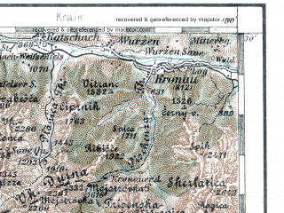 Reduced fragment of topographic map de--aut--200k--31-46--(1905)--N046-30_fE030-30--N045-30_fE031-30 in area of Tagliamento Rio; towns and cities Trieste, Udine, Monfalcone, Gorizia, Portogruaro