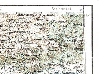 Reduced fragment of topographic map de--aut--200k--31-47--(1895)--N047-30_fE030-30--N046-30_fE031-30 in area of Millstatter See, Weissensee; towns and cities Spittal, Sankt Johann, Badgastein, Tarvisio, Heiligenblut