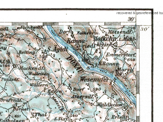 Reduced fragment of topographic map de--aut--200k--31-48--(1947)--N048-30_fE030-30--N047-30_fE031-30 in area of Attersee, Traunsee, Inn Strom; towns and cities Salzburg, Bad Ischl, Braunau Am Inn, Gmunden, Bad Aussee