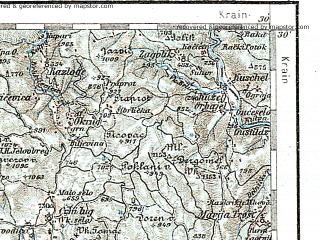 Reduced fragment of topographic map de--aut--200k--32-45--(1912)--N045-30_fE031-30--N044-30_fE032-30 in area of Kvarner, Kvarneric; towns and cities Rijeka, Pula, Opatija, Pazin, Labin