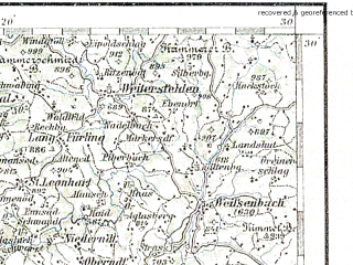 Reduced fragment of topographic map de--aut--200k--32-48--(1893)--N048-30_fE031-30--N047-30_fE032-30 in area of Grundlsee, Donau Strom; towns and cities Linz, Wels, Steyr, Enns, Liezen