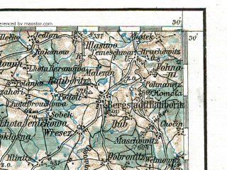 Reduced fragment of topographic map de--aut--200k--32-49--(1915)--N049-30_fE031-30--N048-30_fE032-30; towns and cities Ceske Budejovice, Tabor, Pisek, Freistadt, Aigen