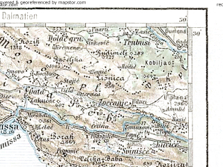 Reduced fragment of topographic map de--aut--200k--34-43--(1894)--N043-30_fE033-30--N042-30_fE034-30; towns and cities Blato, Gornji Humac