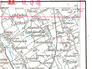 Reduced fragment of topographic map de--aut--200k--34-47--(1912)--N047-30_fE033-30--N046-30_fE034-30; towns and cities Hartberg, Furstenfeld, Lendava, Feldbach