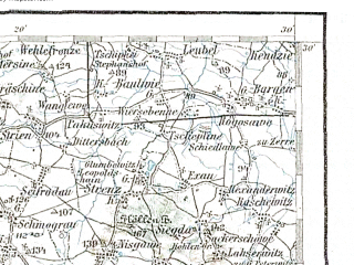 Reduced fragment of topographic map de--aut--200k--34-51--(1896)--N051-30_fE033-30--N050-30_fE034-30; towns and cities Walbrzych, Swidnica, Lubin, Legnica, Boguszow-gorce