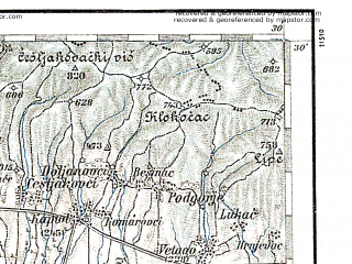 Reduced fragment of topographic map de--aut--200k--35-45--(1894)--N045-30_fE034-30--N044-30_fE035-30; towns and cities Banja Luka, Slavonska Pozega, Pakrac, Nova Gradiska