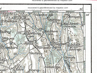 Reduced fragment of topographic map de--aut--200k--35-46--(1893)--N046-30_fE034-30--N045-30_fE035-30 in area of Drava; towns and cities Kaposvar, Bjelovar, Nagykanizsa, Szigetvar, Barcs