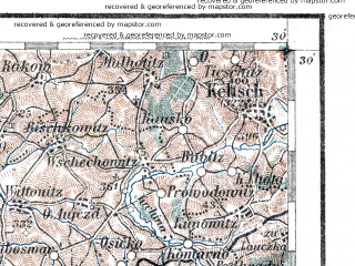Reduced fragment of topographic map de--aut--200k--35-49--(1913)--N049-30_fE034-30--N048-30_fE035-30; towns and cities Zlin, Prerov, Prostejov, Uherske Hradiste, Piest'any