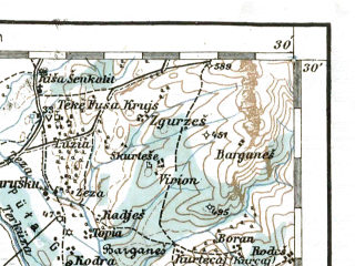 Reduced fragment of topographic map de--aut--200k--37-41--(1917)--N041-30_fE036-30--N040-30_fE037-30; towns and cities Tirane, Durres, Fier, Lushnje, Kavaje