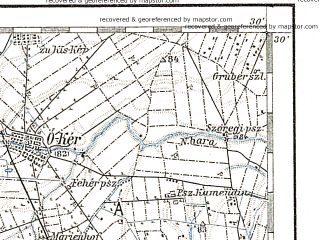 Reduced fragment of topographic map de--aut--200k--37-45--(1897)--N045-30_fE036-30--N044-30_fE037-30 in area of Drina; towns and cities Bijeljina, Sabac, Vukovar, Bogatic, Sid