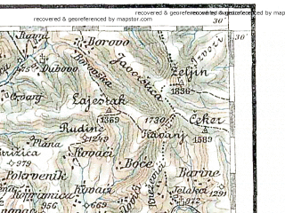 Reduced fragment of topographic map de--aut--200k--38-43--(1898)--N043-30_fE037-30--N042-30_fE038-30; towns and cities Pec, Novi Pazar, Sjenica