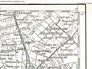 Reduced fragment of topographic map de--aut--200k--38-46--(1893)--N046-30_fE037-30--N045-30_fE038-30; towns and cities Szeged, Hodmezovasarhely, Kikinda, Becej, Senta