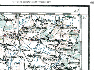 Reduced fragment of topographic map de--aut--200k--38-50--(1914)--N050-30_fE037-30--N049-30_fE038-30; towns and cities Krakow, Nowa Huta, Nowy Sacz, Krosno, Bochnia