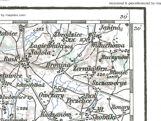 Reduced fragment of topographic map de--aut--200k--38-50--(1930)--N050-30_fE037-30--N049-30_fE038-30; towns and cities Krakow, Nowa Huta, Nowy Sacz, Krosno, Bochnia