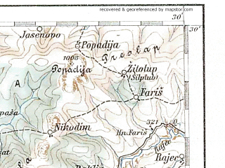 Reduced fragment of topographic map de--aut--200k--39-41--(1900)--N041-30_fE038-30--N040-30_fE039-30 in area of Prespansko Jezero; towns and cities Bitola, Prilep, Florina, Kastoria, Ptolemais
