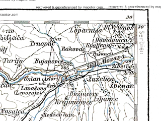 Reduced fragment of topographic map de--aut--200k--39-42--(1900)--N042-30_fE038-30--N041-30_fE039-30; towns and cities Skopje, Kumanovo, Gnjilane, Tetovo, Kicevo