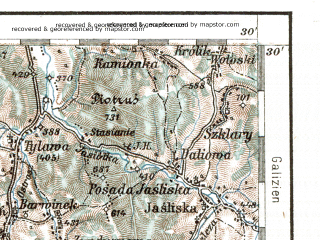 Reduced fragment of topographic map de--aut--200k--39-49--(1914)--N049-30_fE038-30--N048-30_fE039-30; towns and cities Kosice, Presov, Krynica, Svidnik, Bardejov