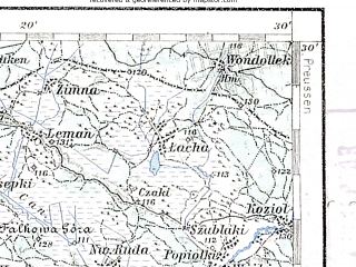 Reduced fragment of topographic map de--aut--200k--39-53--(1901)--N053-30_fE038-30--N052-30_fE039-30; towns and cities Ostroleka, Wyszkow, Przasnysz, Pultusk, Makow Mazowiecki