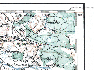 Reduced fragment of topographic map de--aut--200k--40-50--(1914)--N050-30_fE039-30--N049-30_fE040-30; towns and cities Rzeszow, Przemysl, Jaroslaw, Sanok, Lancut
